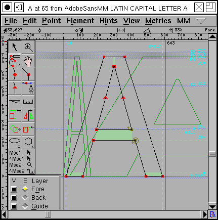 "Intermediate version of ""A"" showing two other styles in background"